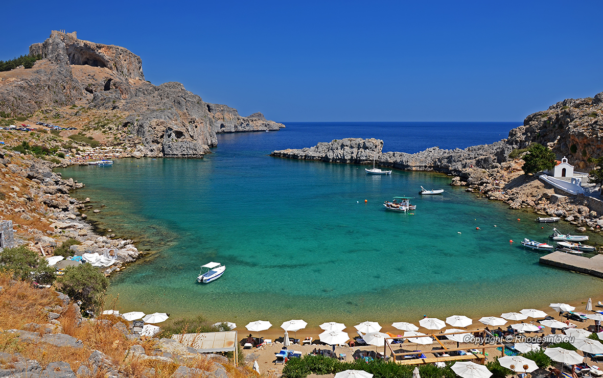 Turquoise water of St. Paul Bay, Rhodes