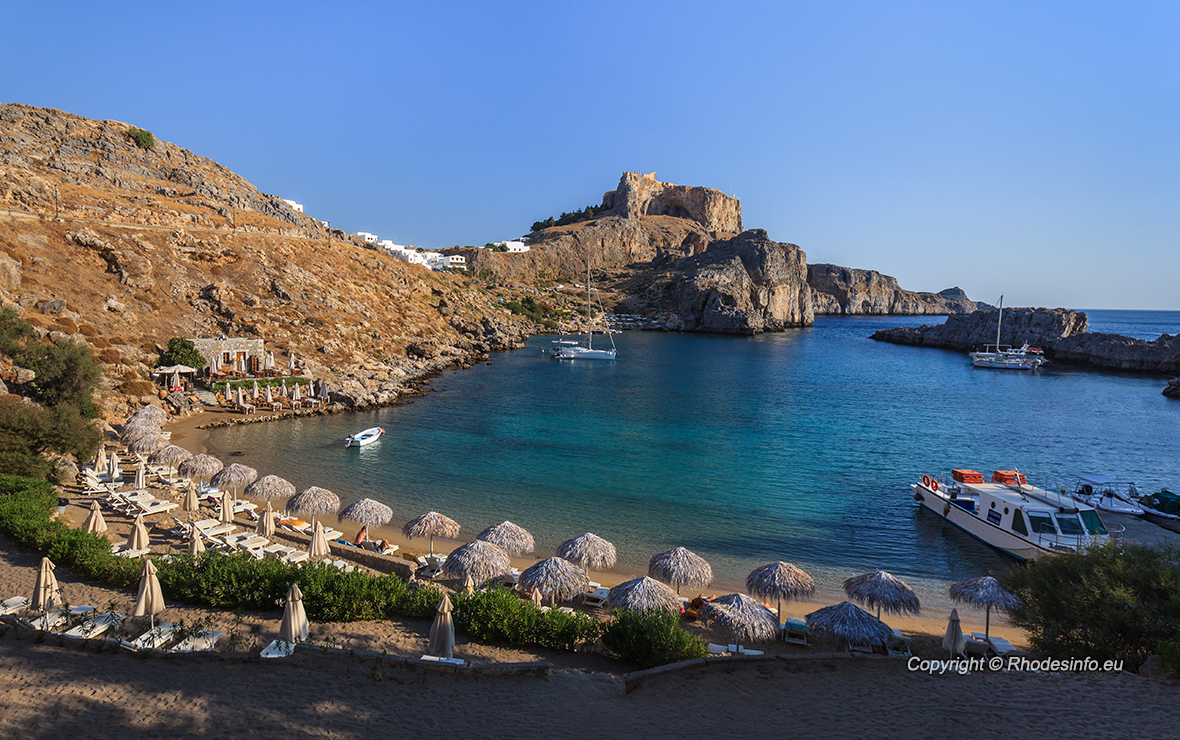 St Paul's Bay Beach in Lindos, Rhodes, Greece