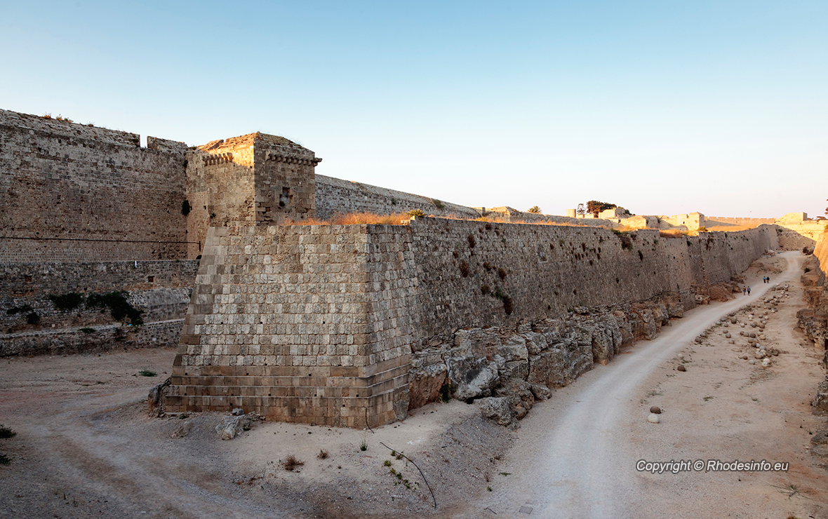 Fortification walls outside of Rhodes.