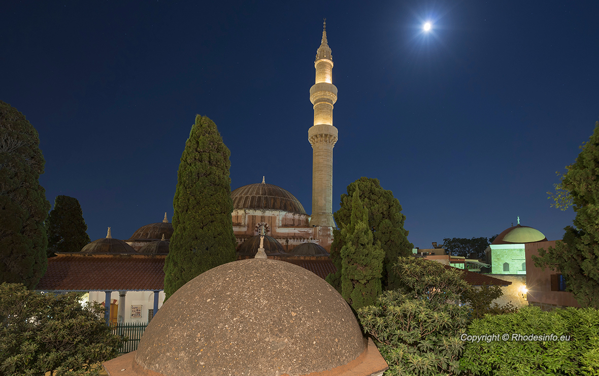 Mosque of Suleimaniye at dusk, Rhodes island, Greece