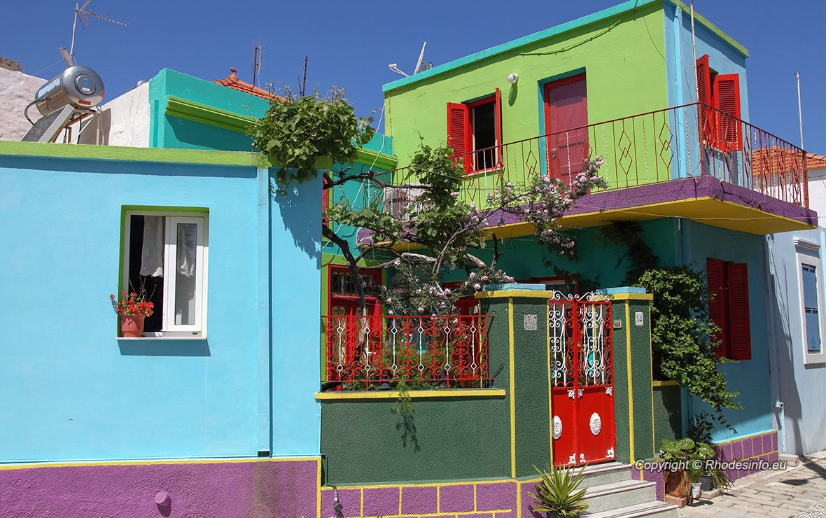 Colorful houses in the village Koskinou on the island of Rhodes, Greece
